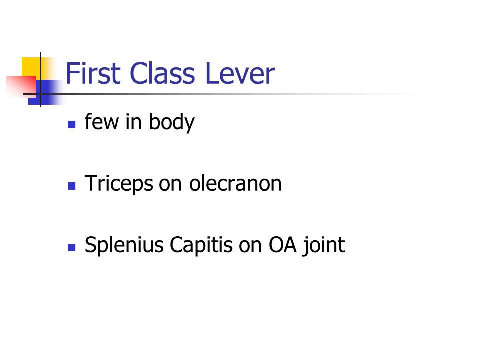 few in body Triceps on olecranon Splenius Capitis on OA joint