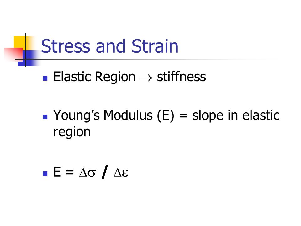 Stress and Strain Elastic Region  stiffness Young's Modulus (E) = slope in elastic region E =   /  