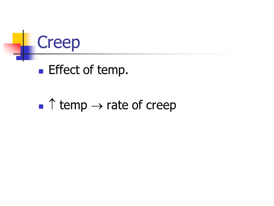Creep Effect of temp.  temp  rate of creep