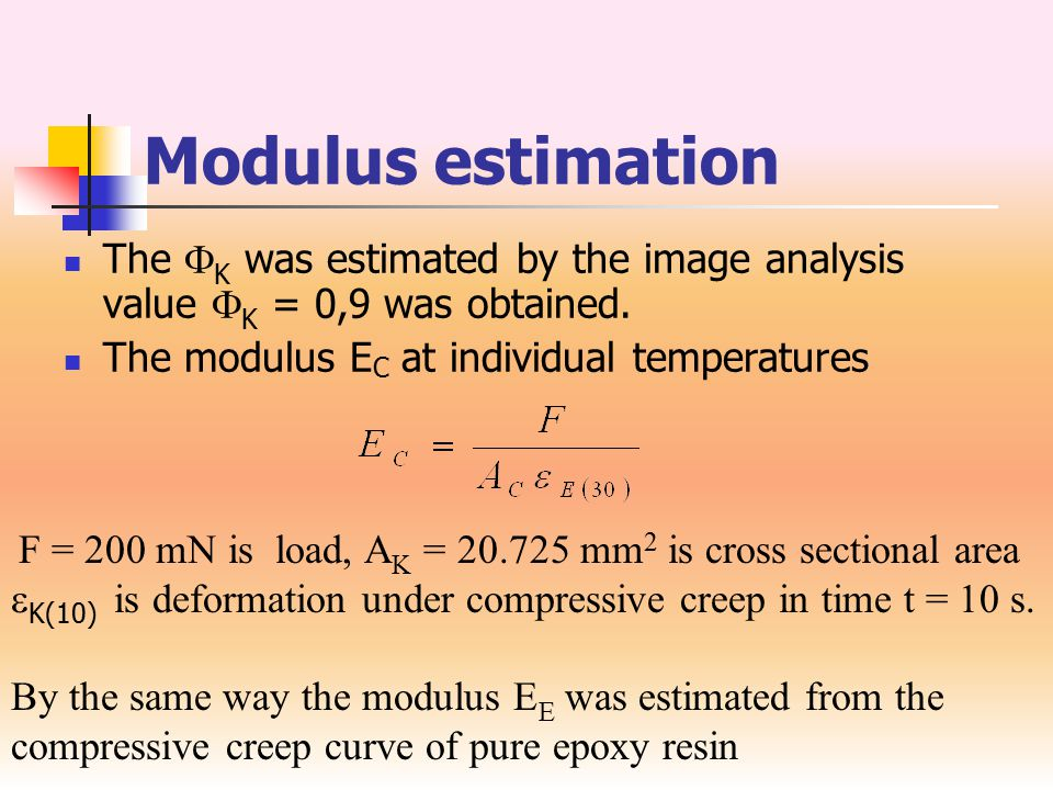 Estimated moduli T [ o C] E K (Basalt) [GPa] E C (Composite) [GPa] E E (Resin) [GPa] 25112.27105.4140.5129 5095.25687.4917.5076 100114.084108.57558.9869 20099.7690.9511.6239