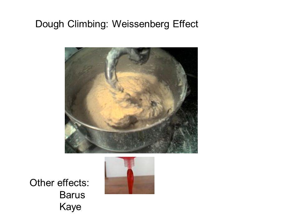 Dough Climbing: Weissenberg Effect Other effects: Barus Kaye