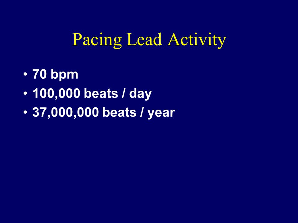 Pacing Lead Activity 70 bpm 100,000 beats / day 37,000,000 beats / year