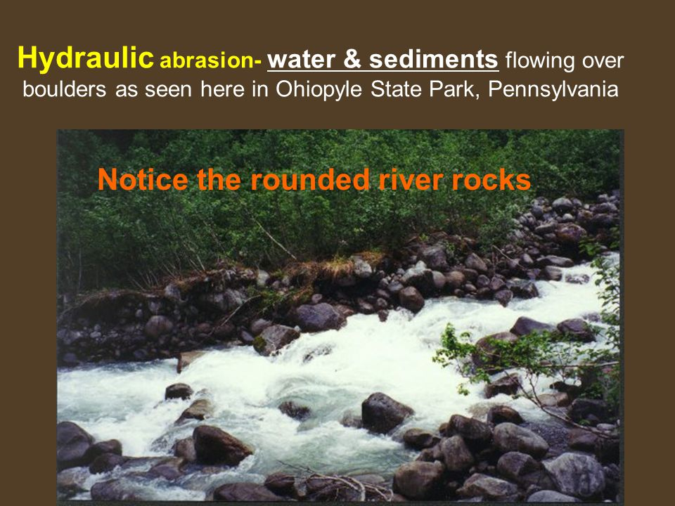 Hydraulic abrasion- water & sediments flowing over boulders as seen here in Ohiopyle State Park, Pennsylvania Notice the rounded river rocks