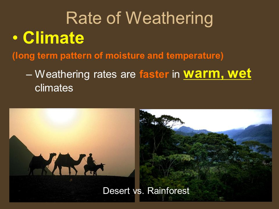 Rate of Weathering Climate (long term pattern of moisture and temperature) –Weathering rates are faster in warm, wet climates Desert vs.