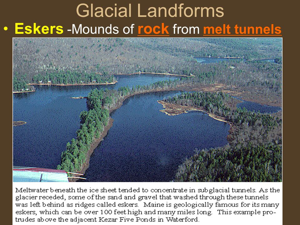 Glacial Landforms Eskers -Mounds of rock from melt tunnels