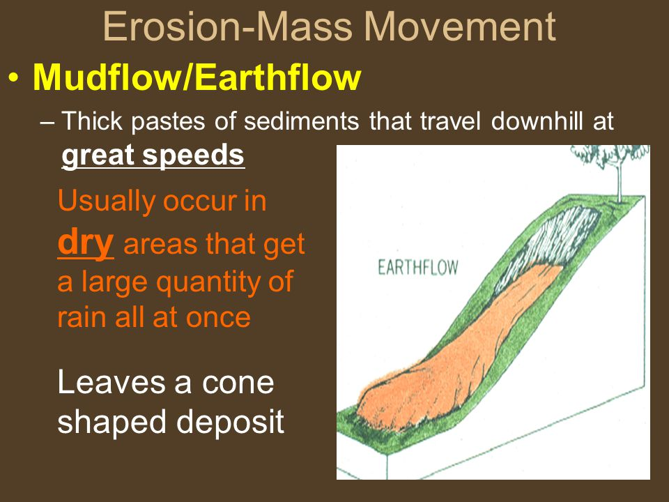 Erosion-Mass Movement Mudflow/Earthflow –Thick pastes of sediments that travel downhill at great speeds Usually occur in dry areas that get a large quantity of rain all at once Leaves a cone shaped deposit