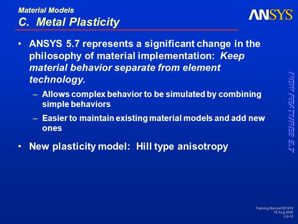 Training Manual 001419 15 Aug 2000 3.2-12 Material Models C.