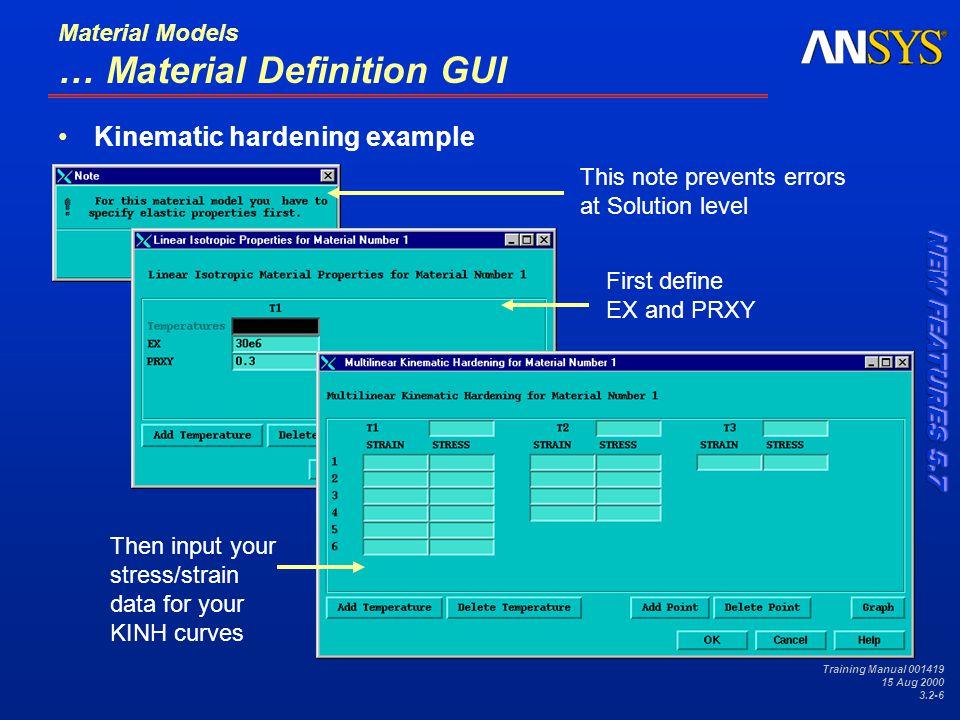 Training Manual 001419 15 Aug 2000 3.2-7 Material Models B.