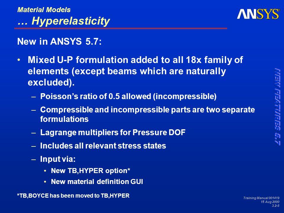 Training Manual 001419 15 Aug 2000 3.2-19 Material Models … Viscoplasticity BISO plus Peirce