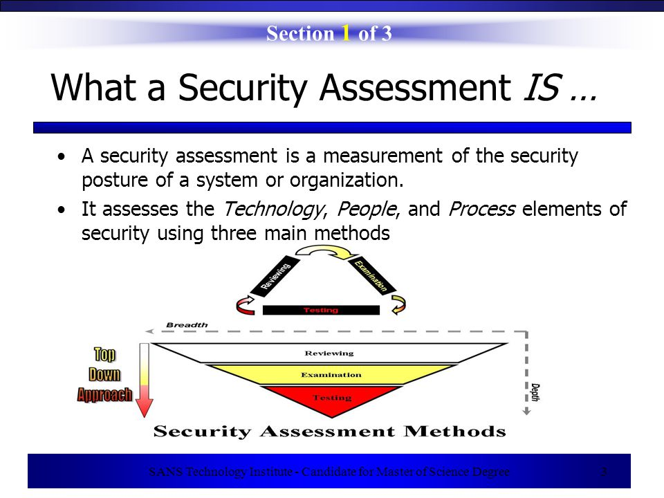 SANS Technology Institute - Candidate for Master of Science Degree 14 Real-Life Example (Controlling Scope) Case (Scope Creep Due to Unexpected Outage) –Background: Security assessor examining information system using vulnerability scanner Another critical system on same network suddenly crashes All eyes turn to assessor – becomes prime suspect !.