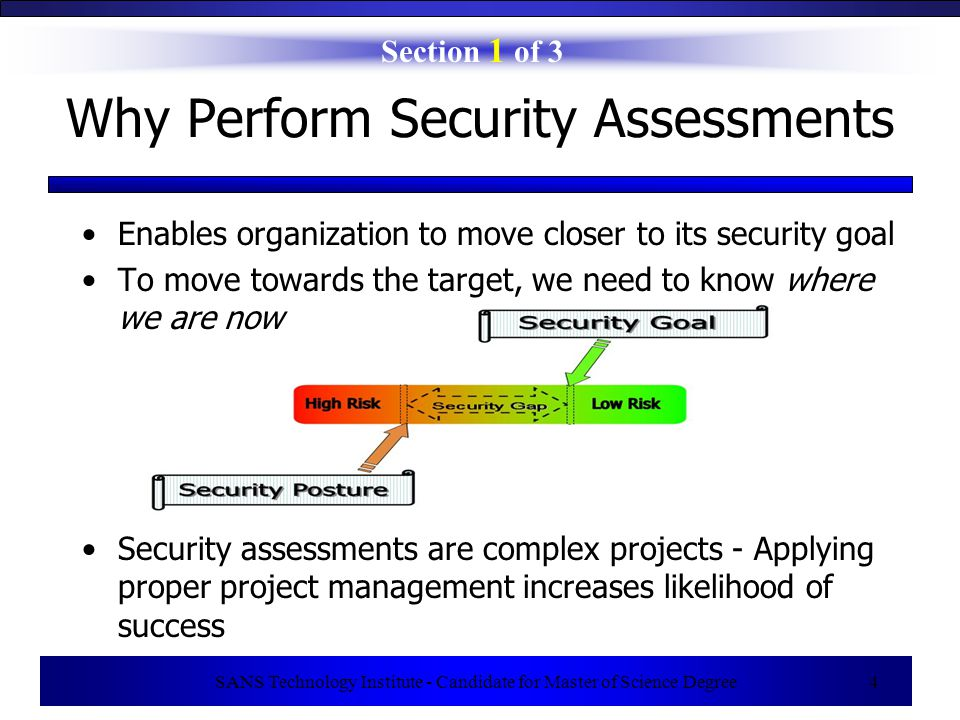 SANS Technology Institute - Candidate for Master of Science Degree 4 Why Perform Security Assessments Section 1 of 3 Enables organization to move closer to its security goal To move towards the target, we need to know where we are now Security assessments are complex projects - Applying proper project management increases likelihood of success
