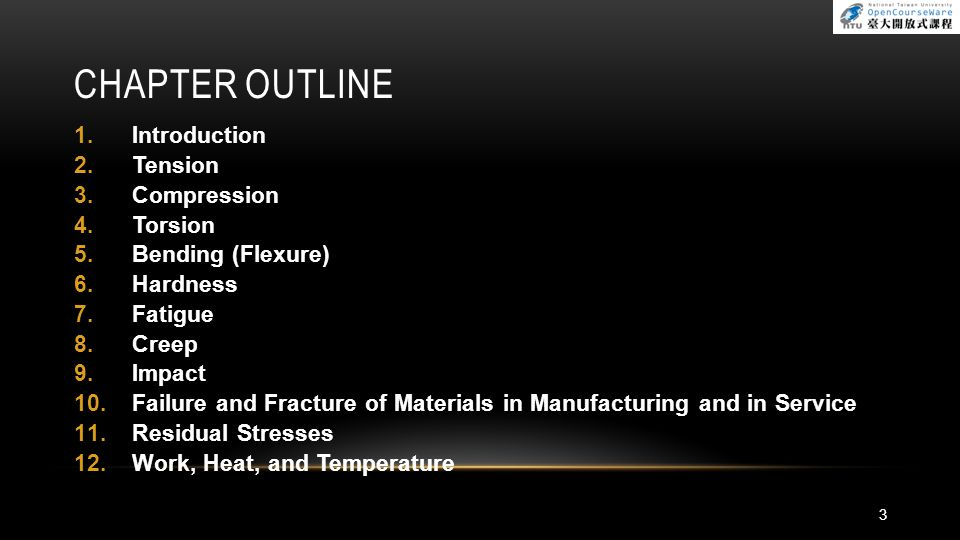 FAILURE AND FRACTURE OF MATERIALS IN MANUFACTURING AND IN SERVICE : BRITTLE FRACTURE Improving Fatigue Strength Fatigue life is influenced by the method of preparation of the surfaces of the part or specimen Fatigue strength improved by 1.Inducing compressive residual stresses on surfaces 2.Case hardening 3.Providing a fine surface finish 4.Selecting appropriate materials 54