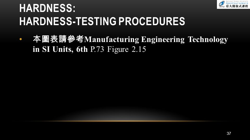 37 HARDNESS: HARDNESS-TESTING PROCEDURES 本圖表請參考 Manufacturing Engineering Technology in SI Units, 6th P.73 Figure 2.15