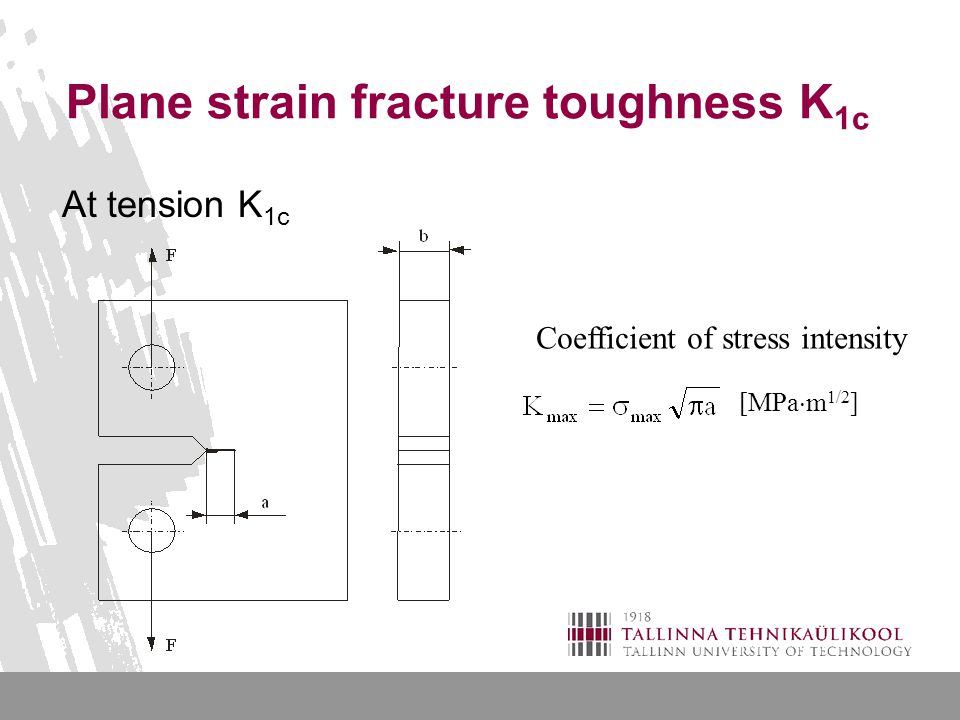 Plane strain fracture toughness K 1c At tension K 1c Coefficient of stress intensity [MPa  m 1/2 ]