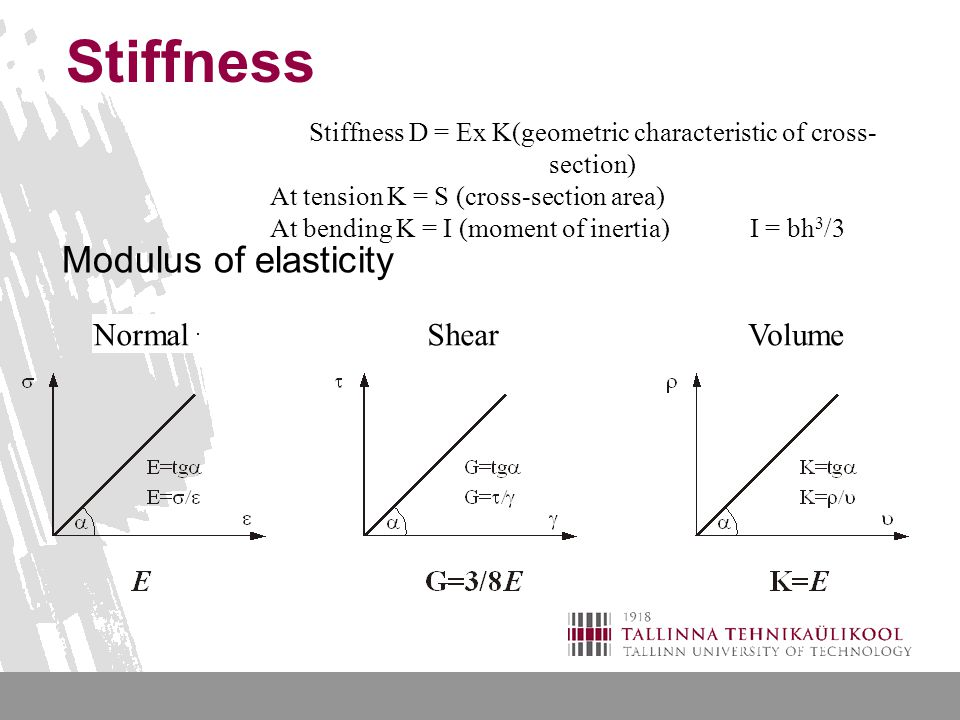 Stiffness Stiffness D = Ex K(geometric characteristic of cross- section) At tension K = S (cross-section area) At bending K = I (moment of inertia)I = bh 3 /3 Modulus of elasticity NormalShearVolume