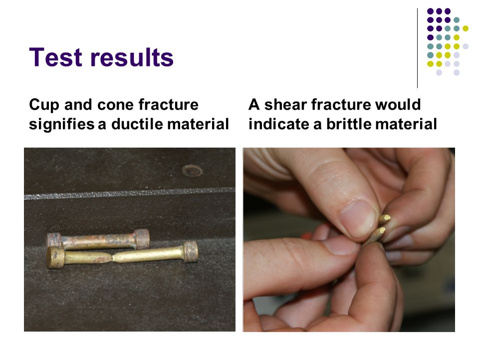 Test results Cup and cone fracture signifies a ductile material A shear fracture would indicate a brittle material