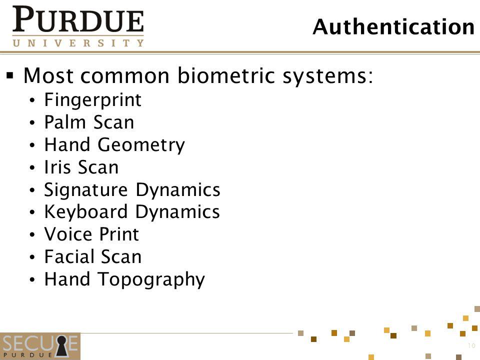 10 Authentication  Most common biometric systems: Fingerprint Palm Scan Hand Geometry Iris Scan Signature Dynamics Keyboard Dynamics Voice Print Faci