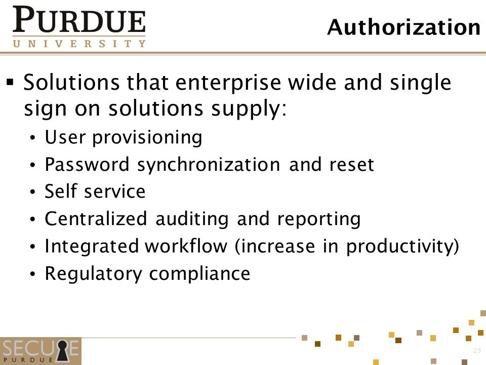 25 Authorization  Solutions that enterprise wide and single sign on solutions supply: User provisioning Password synchronization and reset Self servi