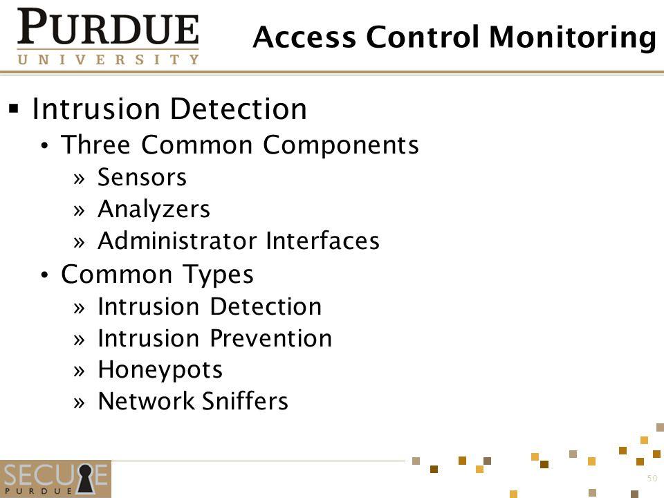 50 Access Control Monitoring  Intrusion Detection Three Common Components »Sensors »Analyzers »Administrator Interfaces Common Types »Intrusion Detec