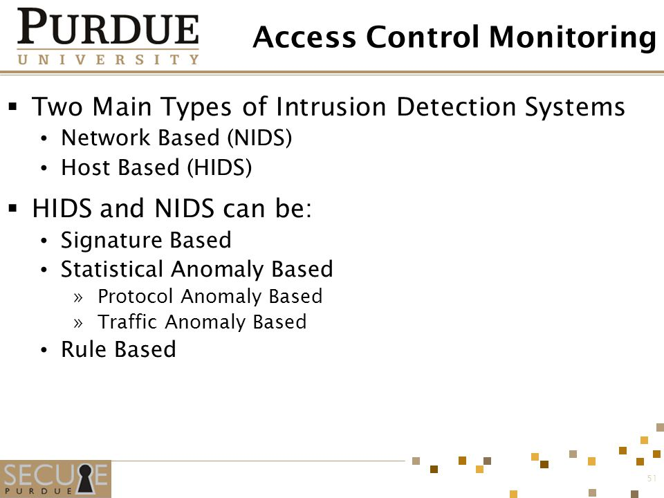 51 Access Control Monitoring  Two Main Types of Intrusion Detection Systems Network Based (NIDS) Host Based (HIDS)  HIDS and NIDS can be: Signature