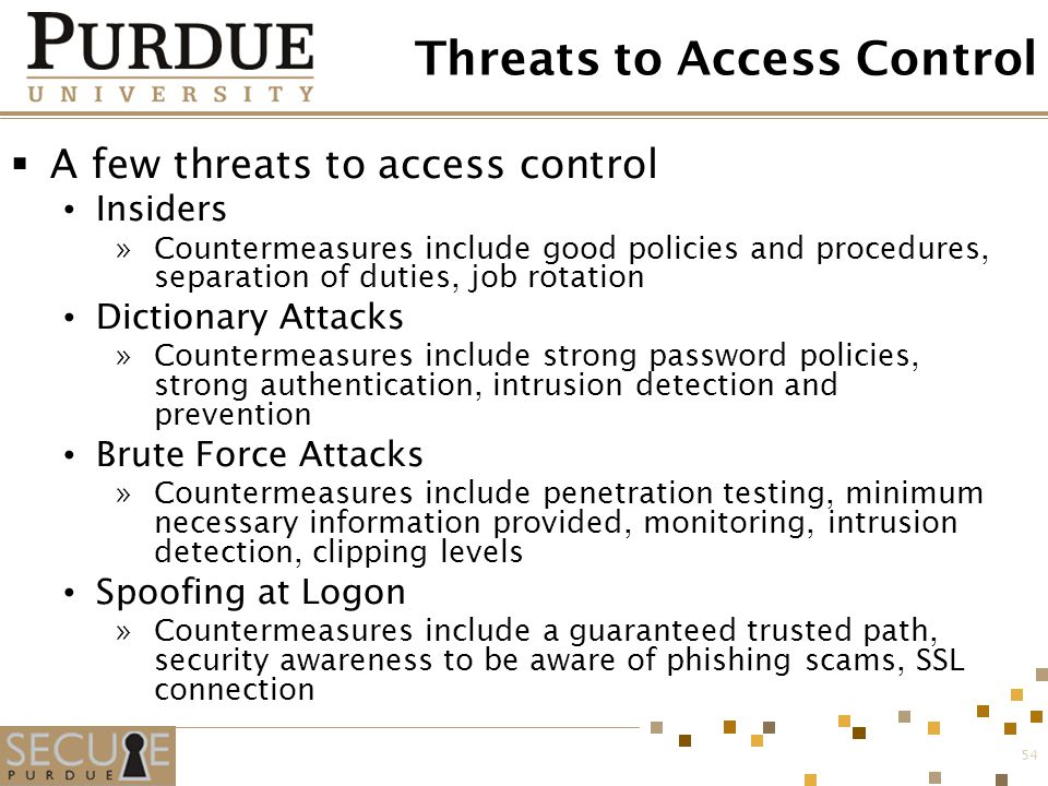 54 Threats to Access Control  A few threats to access control Insiders »Countermeasures include good policies and procedures, separation of duties, j