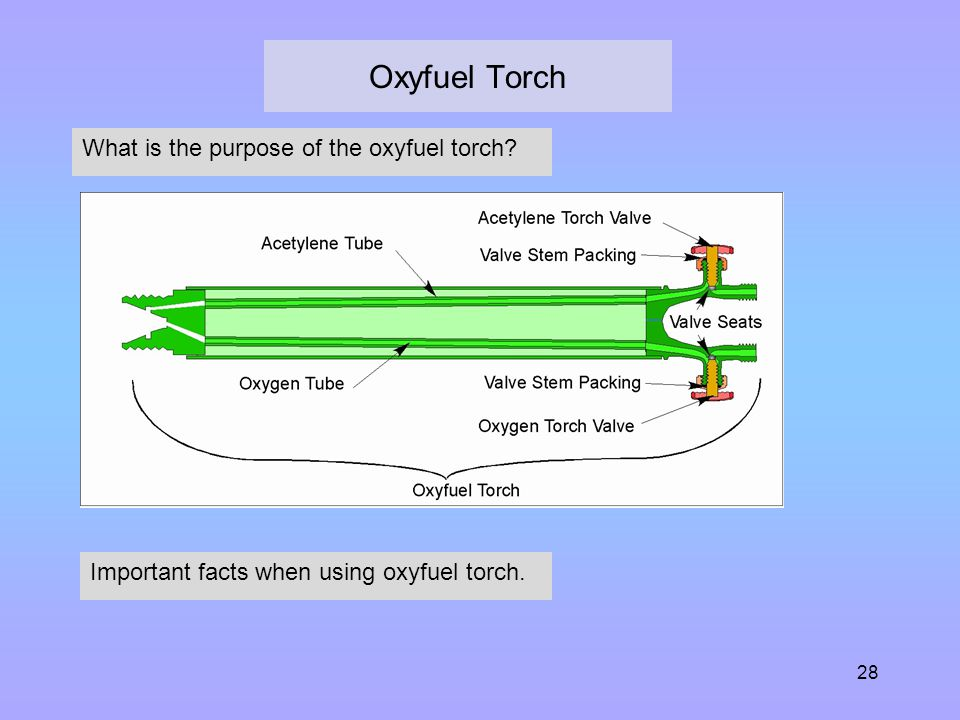 28 Oxyfuel Torch What is the purpose of the oxyfuel torch? Important facts when using oxyfuel torch.