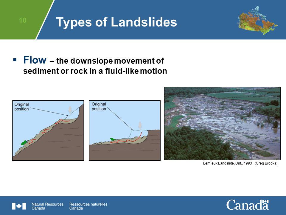 10  Flow – the downslope movement of sediment or rock in a fluid-like motion Lemieux Landslide, Ont., 1993 (Greg Brooks) Types of Landslides