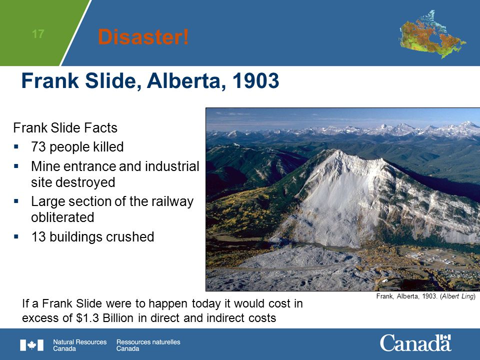 17 Frank Slide, Alberta, 1903 If a Frank Slide were to happen today it would cost in excess of $1.3 Billion in direct and indirect costs Frank Slide F