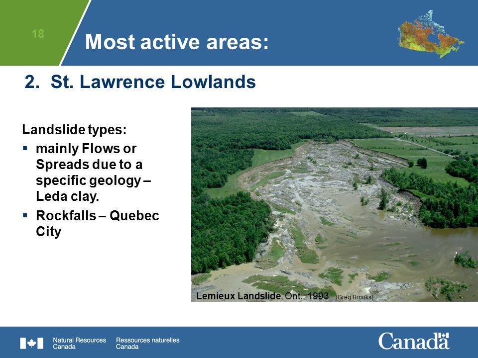 18 2. St. Lawrence Lowlands Landslide types:  mainly Flows or Spreads due to a specific geology – Leda clay.  Rockfalls – Quebec City Lemieux Landsl