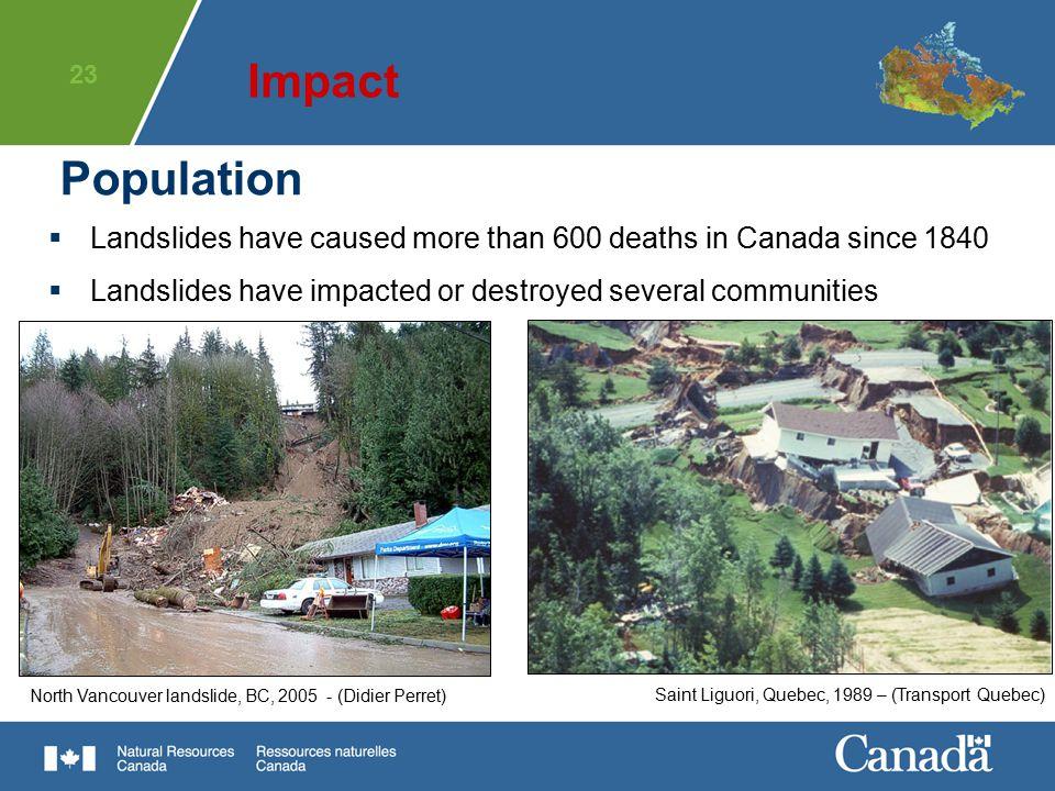 23 Population Saint Liguori, Quebec, 1989 – (Transport Quebec)North Vancouver landslide, BC, 2005 - (Didier Perret)  Landslides have caused more than