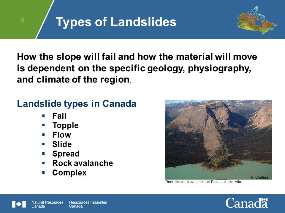6 How the slope will fail and how the material will move is dependent on the specific geology, physiography, and climate of the region. Landslide type