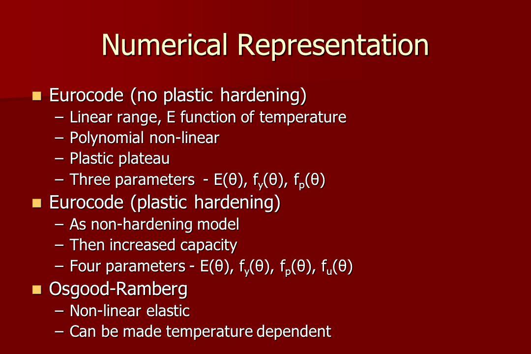 Numerical Representation Eurocode (no plastic hardening) Eurocode (no plastic hardening) –Linear range, E function of temperature –Polynomial non-linear –Plastic plateau –Three parameters - E(θ), f y (θ), f p (θ) Eurocode (plastic hardening) Eurocode (plastic hardening) –As non-hardening model –Then increased capacity –Four parameters - E(θ), f y (θ), f p (θ), f u (θ) Osgood-Ramberg Osgood-Ramberg –Non-linear elastic –Can be made temperature dependent