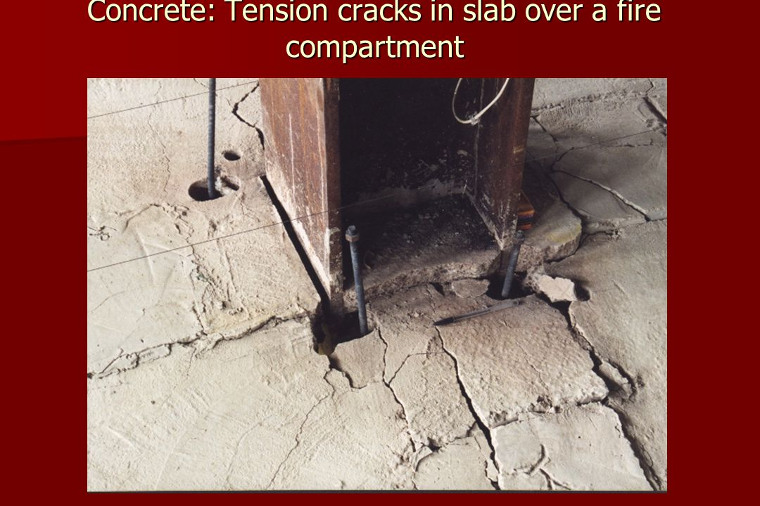 Concrete: Tension cracks in slab over a fire compartment