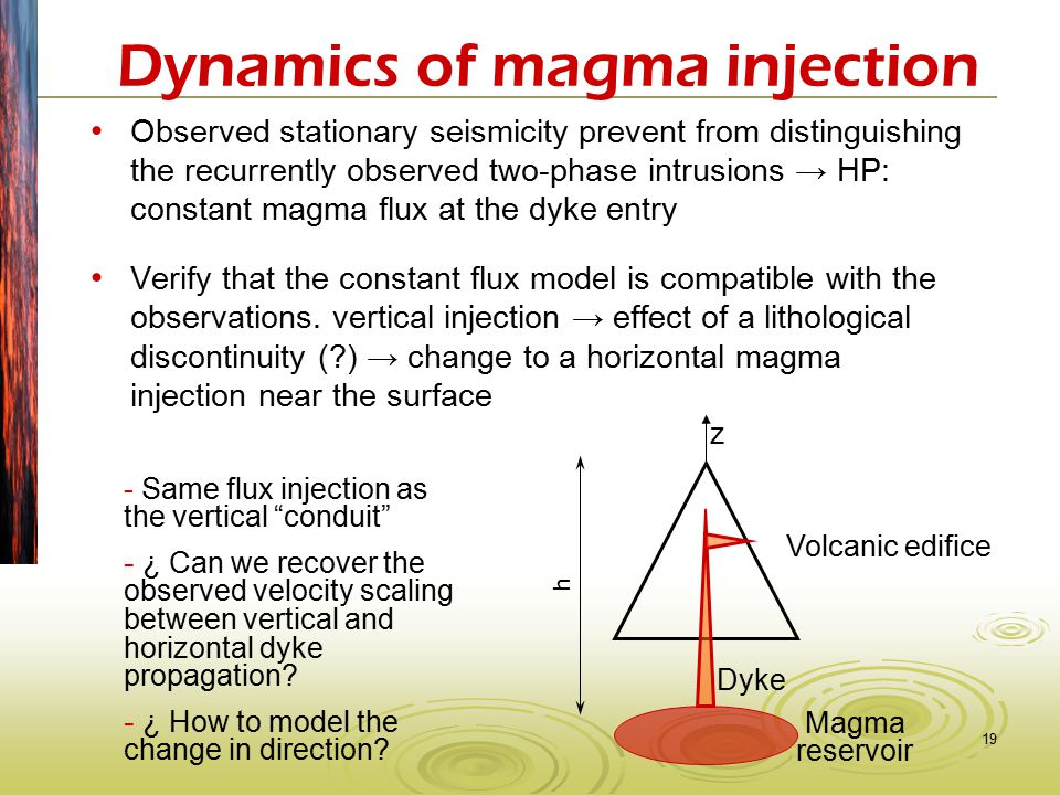 19 Dynamics of magma injection Observed stationary seismicity prevent from distinguishing the recurrently observed two-phase intrusions → HP: constant