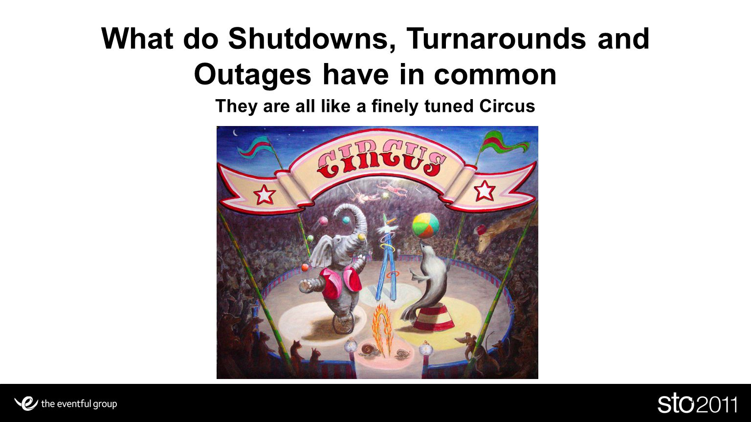 Key Players in your Shutdown, Turnaround or Outage Circus Jugglers ( Logistics and Materials) Trapeze and other High Risk Acts ( Critical path activates) Elephant trainers ( Equipment Jobs) Lion Tamers ( Piping,Valve & Misc jobs) Clowns ( Items that can derail you) Who is the Ring Leader ?