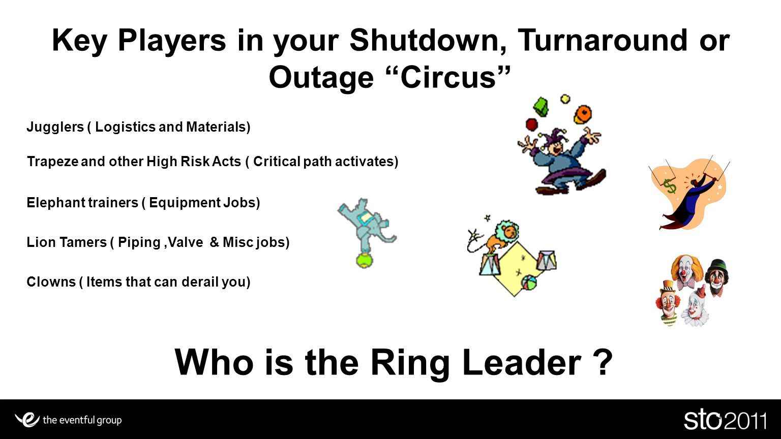 """Key Players in your Shutdown, Turnaround or Outage """"Circus"""" Jugglers ( Logistics and Materials) Trapeze and other High Risk Acts ( Critical path activ"""