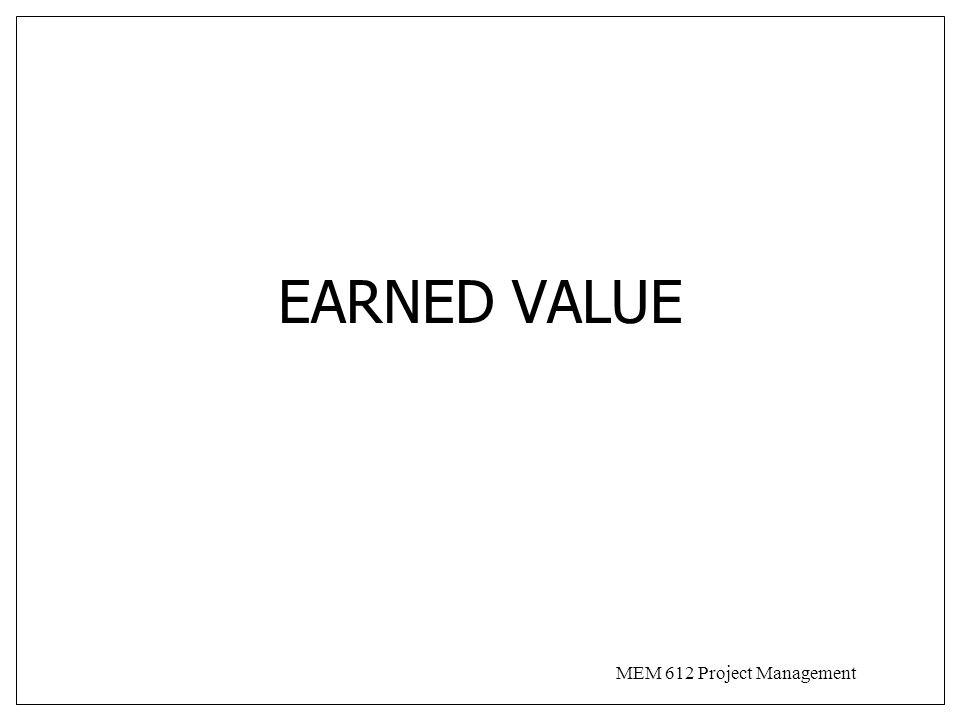 MEM 612 Project Management EARNED VALUE