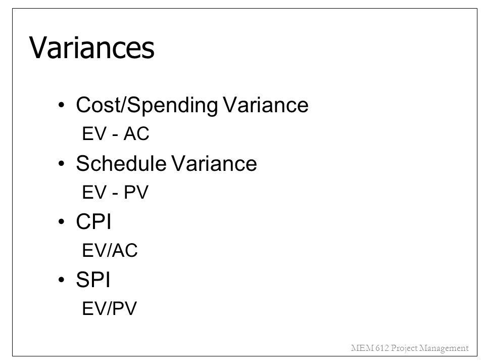 MEM 612 Project Management Variances Cost/Spending Variance EV - AC Schedule Variance EV - PV CPI EV/AC SPI EV/PV
