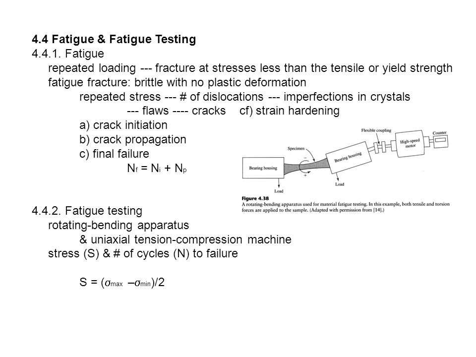 4.4 Fatigue & Fatigue Testing 4.4.1. Fatigue repeated loading --- fracture at stresses less than the tensile or yield strength fatigue fracture: britt