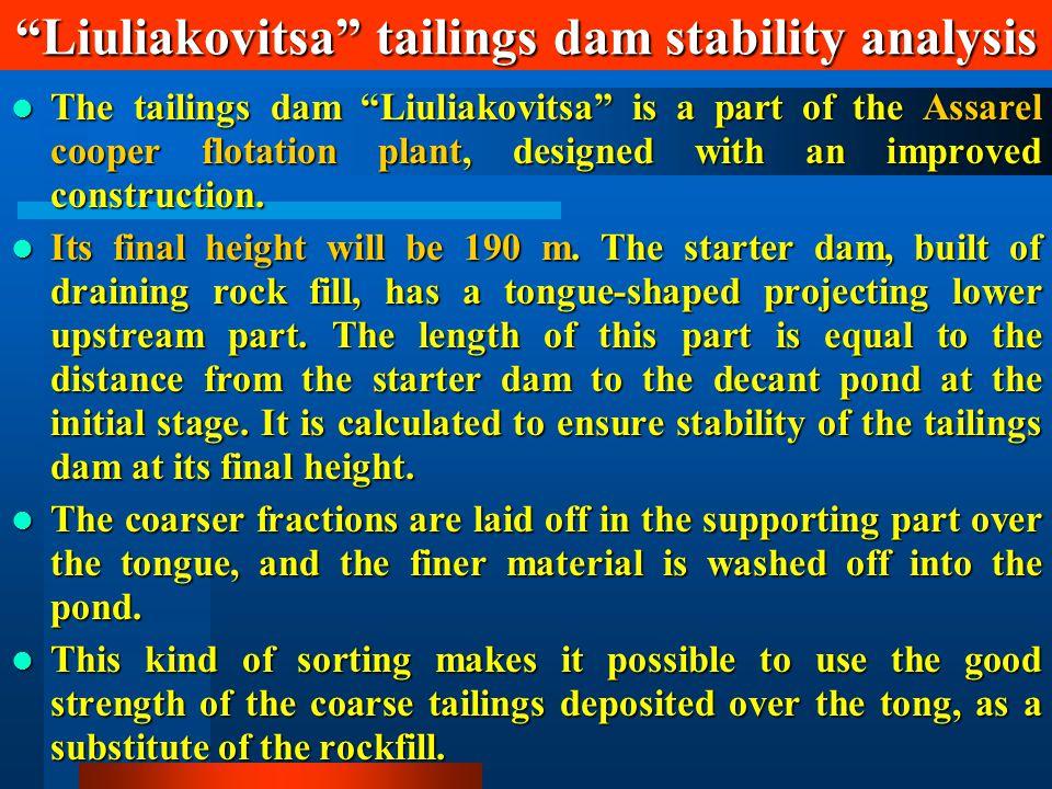 Liuliakovitsa tailings dam stability analysis The tailings dam Liuliakovitsa is a part of the Assarel cooper flotation plant, designed with an improved construction.