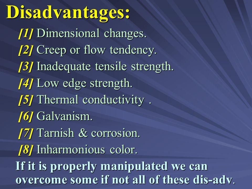 (IV) PROPERTIES OF AMALGAM RESTORATION: Advantages : Advantages : (1) Adequate compressive strength. (1) Adequate compressive strength. (2) High abras