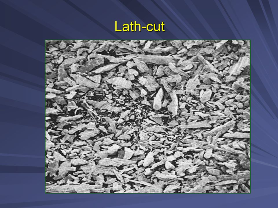 ACCORDING TO PARTICLES SHAPE 1- Lathe – cut alloy particles [Irregular shape needles].