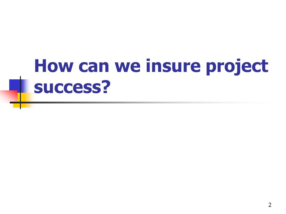 2 How can we insure project success
