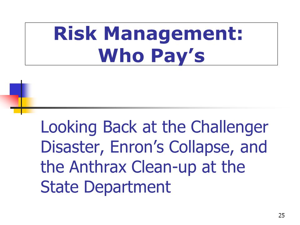 25 Looking Back at the Challenger Disaster, Enron's Collapse, and the Anthrax Clean-up at the State Department Risk Management: Who Pay's