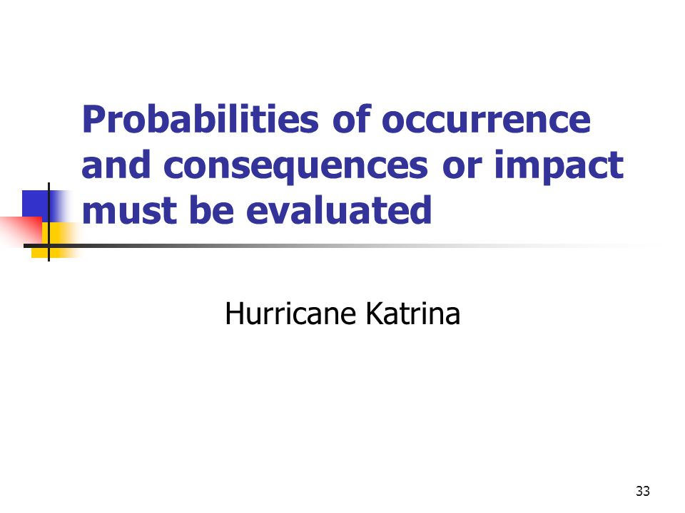 33 Probabilities of occurrence and consequences or impact must be evaluated Hurricane Katrina