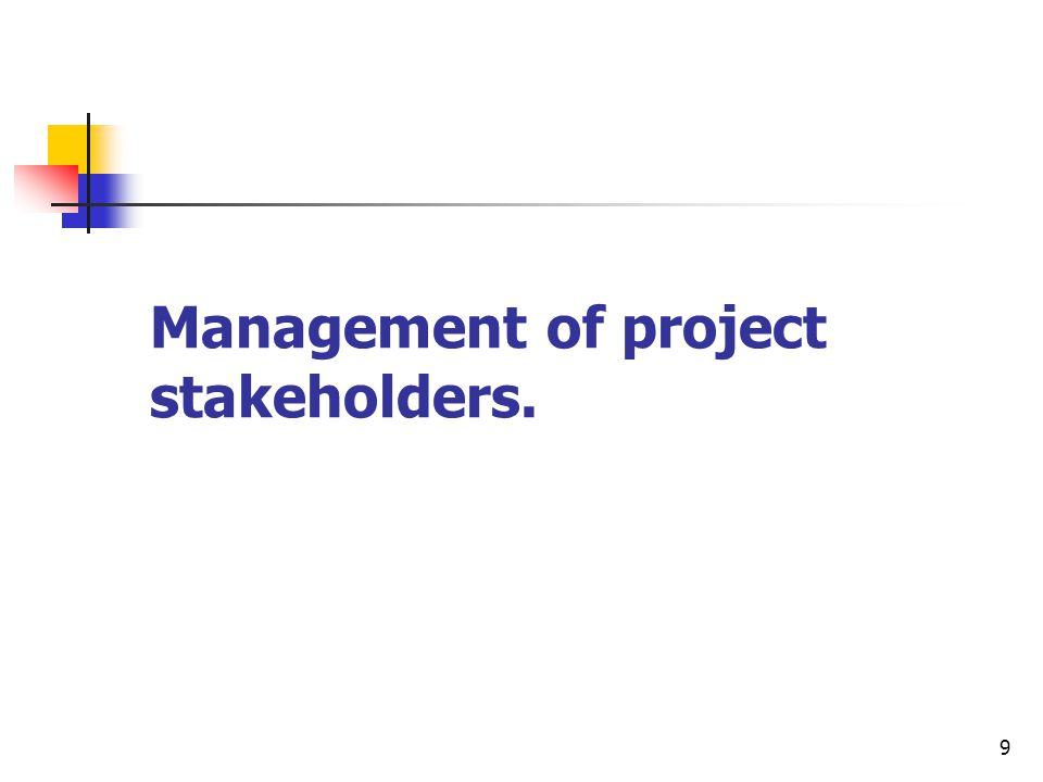 9 Management of project stakeholders.
