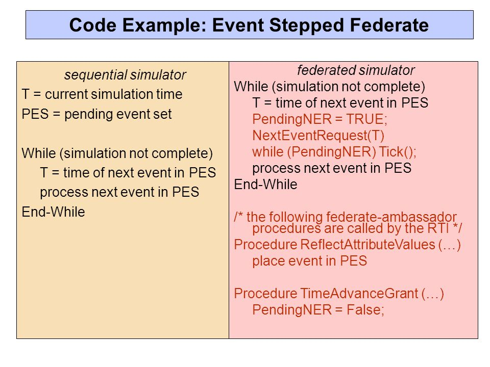 sequential simulator T = current simulation time PES = pending event set While (simulation not complete) T = time of next event in PES process next event in PES End-While federated simulator While (simulation not complete) T = time of next event in PES PendingNER = TRUE; NextEventRequest(T) while (PendingNER) Tick(); process next event in PES End-While /* the following federate-ambassador procedures are called by the RTI */ Procedure ReflectAttributeValues (…) place event in PES Procedure TimeAdvanceGrant (…) PendingNER = False; Code Example: Event Stepped Federate