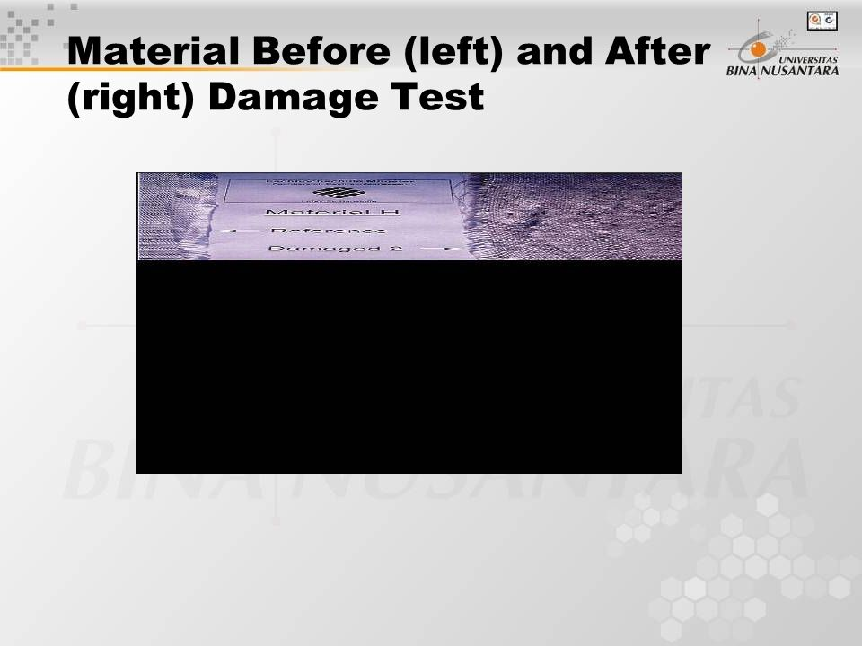 Material Before (left) and After (right) Damage Test