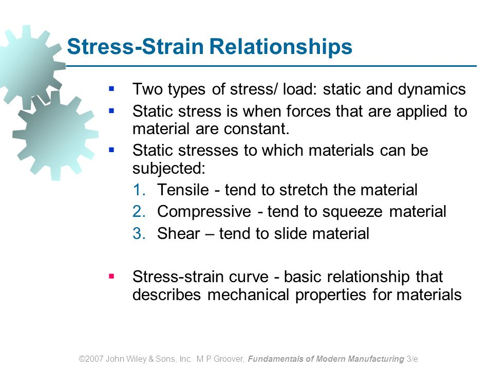 ©2007 John Wiley & Sons, Inc. M P Groover, Fundamentals of Modern Manufacturing 3/e Stress ‑ Strain Relationships  Two types of stress/ load: static
