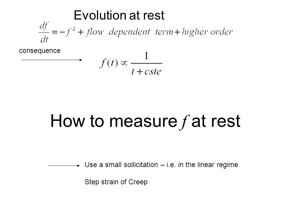 How to measure f at rest Use a small sollicitation – i.e.